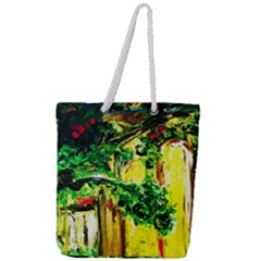 Old Tree And House With An Arch 2 Full Print Rope Handle Tote (large) by bestdesignintheworld