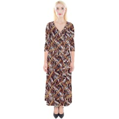 Colorful Wavy Abstract Pattern Quarter Sleeve Wrap Maxi Dress by dflcprints