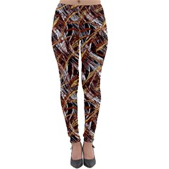 Colorful Wavy Abstract Pattern Lightweight Velour Leggings