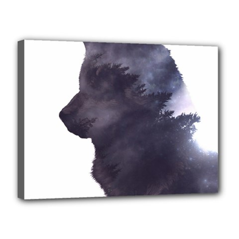 Grey Wolf  Canvas 16  X 12