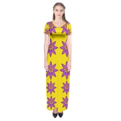 Fantasy Flower In The Happy Jungle Of Beauty Short Sleeve Maxi Dress by pepitasart