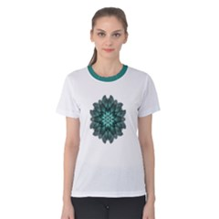 Emerald Dahlia Flower Mandala Women s Cotton Tee by flowermandalas