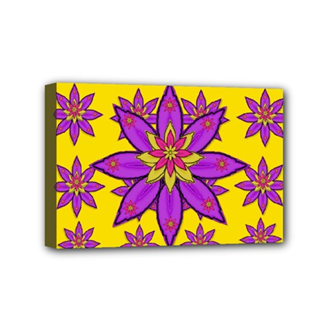 Fantasy Big Flowers In The Happy Jungle Of Love Mini Canvas 6  X 4  by pepitasart