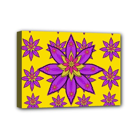 Fantasy Big Flowers In The Happy Jungle Of Love Mini Canvas 7  X 5  by pepitasart