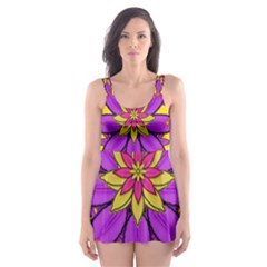 Fantasy Big Flowers In The Happy Jungle Of Love Skater Dress Swimsuit by pepitasart