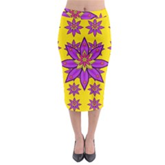 Fantasy Big Flowers In The Happy Jungle Of Love Midi Pencil Skirt by pepitasart