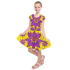 Fantasy Big Flowers In The Happy Jungle Of Love Kids  Short Sleeve Dress by pepitasart