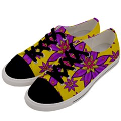 Fantasy Big Flowers In The Happy Jungle Of Love Men s Low Top Canvas Sneakers by pepitasart