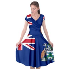 Flag Of Ascension Island Cap Sleeve Wrap Front Dress