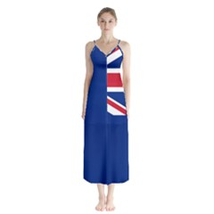 Flag Of Ascension Island Button Up Chiffon Maxi Dress