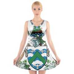 Flag Of Ascension Island V Neck Sleeveless Dress