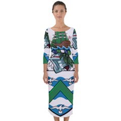 Flag Of Ascension Island Quarter Sleeve Midi Bodycon Dress