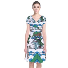 Flag Of Ascension Island Short Sleeve Front Wrap Dress