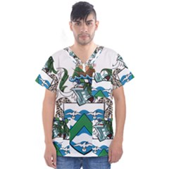 Flag Of Ascension Island Men s V Neck Scrub Top
