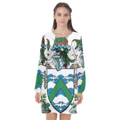 Flag Of Ascension Island Long Sleeve Chiffon Shift Dress