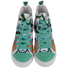 Flag Of Ascension Island Women s Mid Top Canvas Sneakers