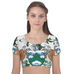 Flag Of Ascension Island Velvet Short Sleeve Crop Top
