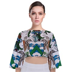 Flag Of Ascension Island Tie Back Butterfly Sleeve Chiffon Top