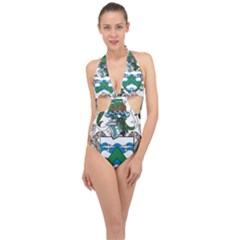 Flag Of Ascension Island Halter Front Plunge Swimsuit