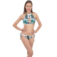 Flag Of Ascension Island Cross Front Halter Bikini Set