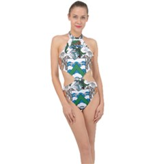 Coat Of Arms Of Ascension Island Halter Side Cut Swimsuit