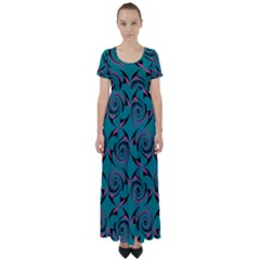 Spirals High Waist Short Sleeve Maxi Dress