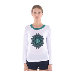 Emerald Flower Mandala Women s Long Sleeve Tee