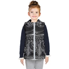 Black And Grey Pattern Cube Kid s Hooded Puffer Vest