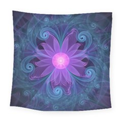 Blown Glass Flower Of An Electricblue Fractal Iris Square Tapestry (large) by jayaprime