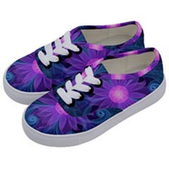 Blown Glass Flower Of An Electricblue Fractal Iris Kids  Classic Low Top Sneakers by jayaprime