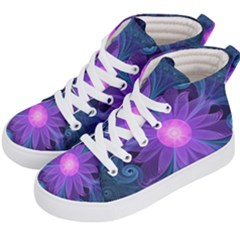 Blown Glass Flower Of An Electricblue Fractal Iris Kid s Hi Top Skate Sneakers by jayaprime