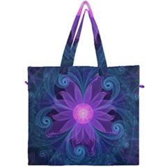 Blown Glass Flower Of An Electricblue Fractal Iris Canvas Travel Bag by jayaprime