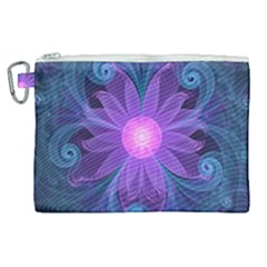 Blown Glass Flower Of An Electricblue Fractal Iris Canvas Cosmetic Bag (xl)