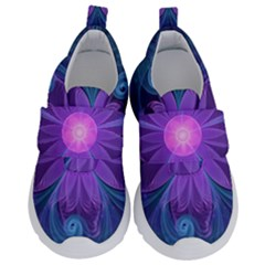 Blown Glass Flower Of An Electricblue Fractal Iris Velcro Strap Shoes by jayaprime