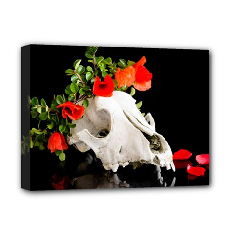 Animal Skull With A Wreath Of Wild Flower Deluxe Canvas 16  X 12   by igorsin