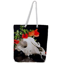 Animal Skull With A Wreath Of Wild Flower Full Print Rope Handle Tote (large)