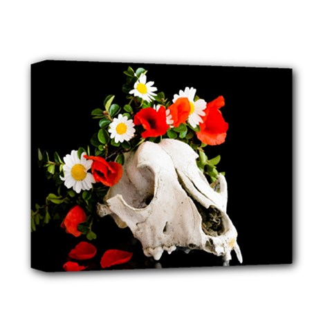 Animal Skull With A Wreath Of Wild Flower Deluxe Canvas 14  X 11  by igorsin