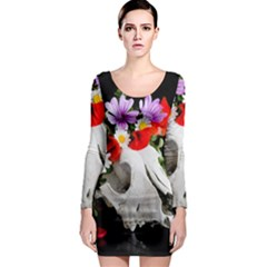 Animal Skull With A Wreath Of Wild Flower Long Sleeve Bodycon Dress by igorsin