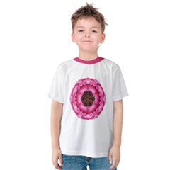 Pink Peony Flower Mandala Kids  Cotton Tee