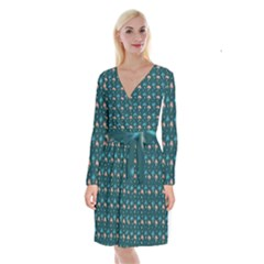 Summer Palms Pattern Long Sleeve Velvet Front Wrap Dress by TastefulDesigns