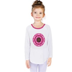 Pink Peony Flower Mandala Kids  Long Sleeve Tee