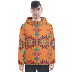 Misc Shapes On An Orange Background                                    Men s Hooded Puffer Jacket