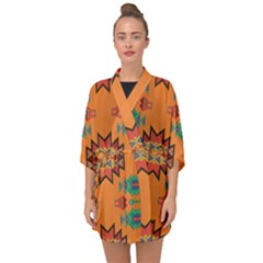 Misc Shapes On An Orange Background                                 Half Sleeve Chiffon Kimono