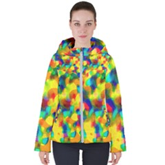 Colorful Watercolors Texture                                   Women s Hooded Puffer Jacket by LalyLauraFLM