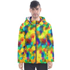 Colorful Watercolors Texture                                    Men s Hooded Puffer Jacket by LalyLauraFLM