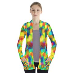 Colorful Watercolors Texture                              Women s Open Front Pockets Cardigan by LalyLauraFLM