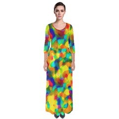 Colorful Watercolors Texture                                      Quarter Sleeve Maxi Dress by LalyLauraFLM