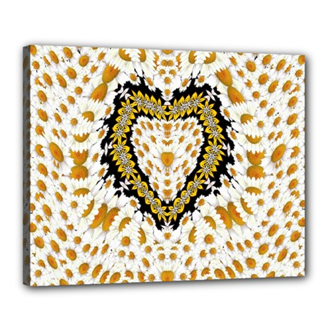 Hearts In A Field Of Fantasy Flowers In Bloom Canvas 20  X 16  by pepitasart