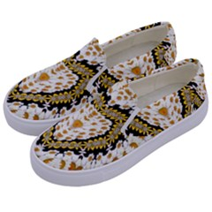 Hearts In A Field Of Fantasy Flowers In Bloom Kids  Canvas Slip Ons by pepitasart