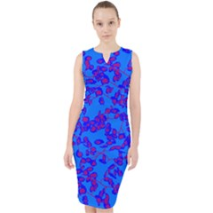 Blue Pink Midi Bodycon Dress by dsignRO